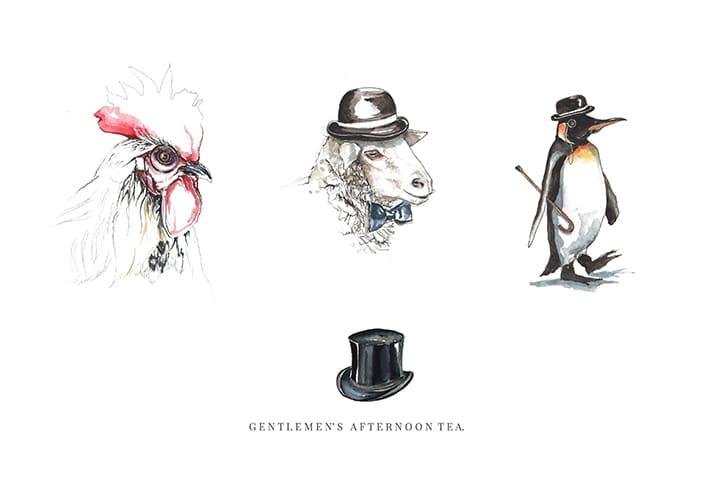 bespoke illustrations gentleman afternoon tea