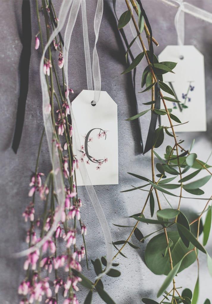 botanical alphabet gift tag