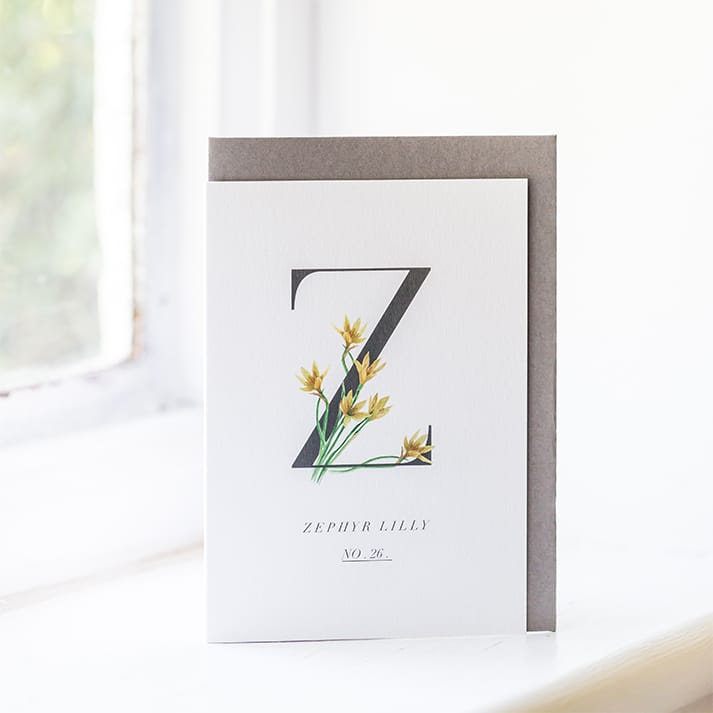 zephyr lily greetings card