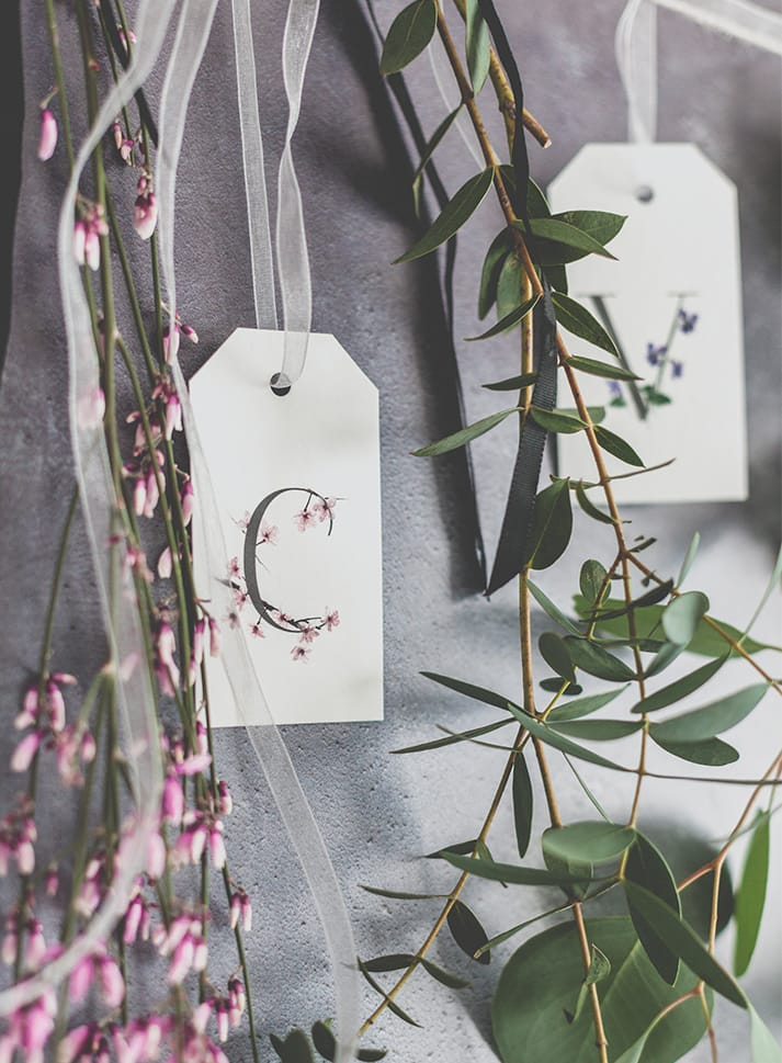 botanical gift tags cherry blossom