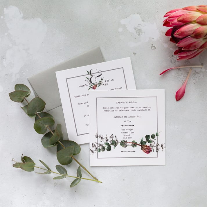 wedding stationery protea invite
