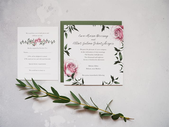 wedding stationery rose invite
