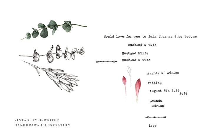 wedding details font illustration