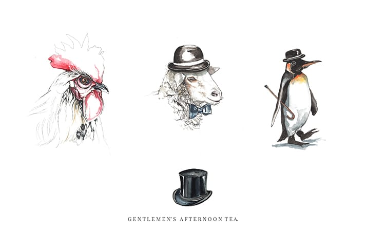 bespoke illustrations gentleman afternoon tea