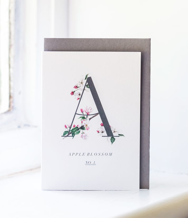 botanical alphabet apple blossom card